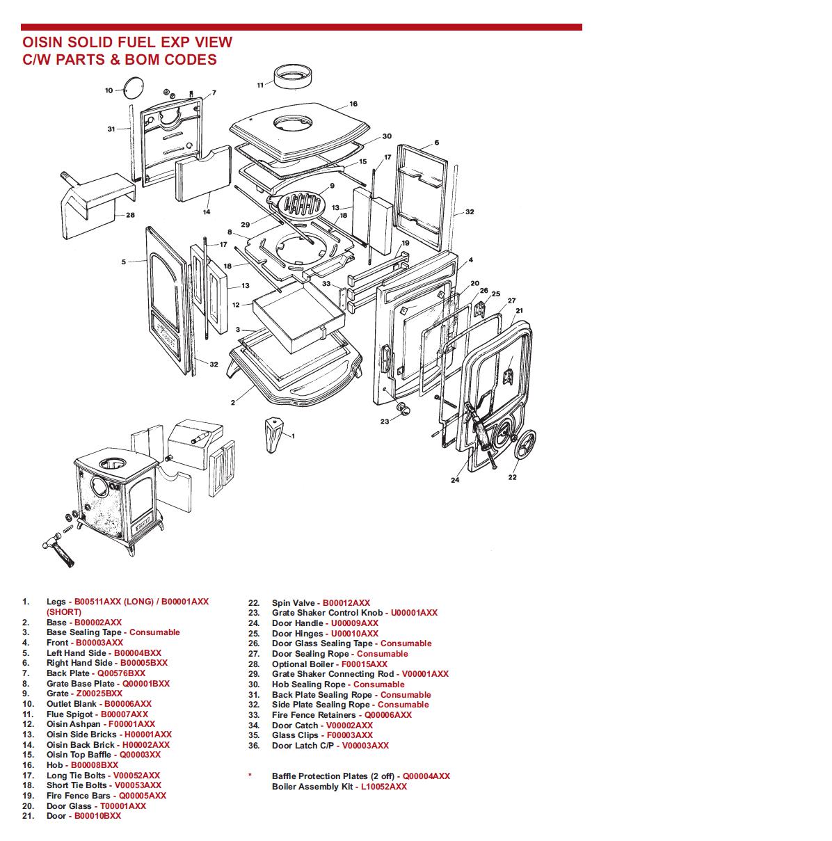Oisin Stove Solid Fuel Non Boiler Archives Stove Spare Parts